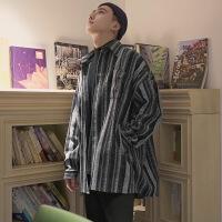 衬衫男学生秋冬季复古毛呢料长袖衬衫男潮韩版撞色条纹帅气宽松外套