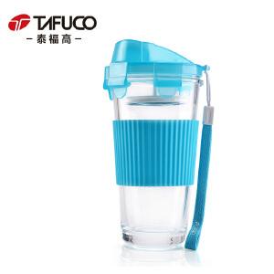 泰福高泡茶杯玻璃杯子过滤网果汁杯便携单层水杯透明