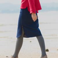 中式国风羊毛呢半身裙秋冬中短裙包臀侧开叉旗袍一步裙藏蓝色 藏青色