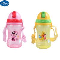 迪士尼米奇儿童软吸管杯婴幼儿宝宝360ML水杯带背绳防漏学生水杯5687