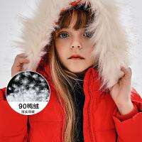 迷你巴拉巴拉女童羽绒服冬新款加厚童装收腰大摆保暖连帽羽绒外套