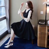 2018新款时尚优雅女外套春秋毛衣背心裙两件套秋冬时尚套装连衣裙长袖女2018新款 背带裙+衬衫