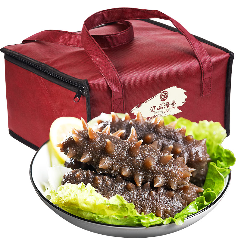 宫品 品尊即食海参500克6-10只礼盒装 高品质即食每斤赠调味汁5袋 连续多年有机食品认证