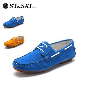 【星期六集团大牌日】星期六男鞋(ST&SAT)牛皮革方跟套脚休闲春单鞋SS51125606