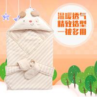 威尔贝鲁(WELLBER)婴儿抱被儿童彩棉棉毛布动物包巾新生儿抱毯