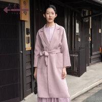 生活在左2019秋季女装新款粉色中长款双面呢毛呢大衣外套配腰带