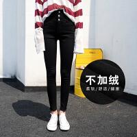 2017新款韩版加绒加厚冬季超高腰牛仔长裤女黑色小脚铅笔紧身外穿