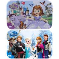【当当自营】迪士尼拼图玩具 60片铁盒木质拼图二合一(苏菲亚2265+冰雪奇缘2391)