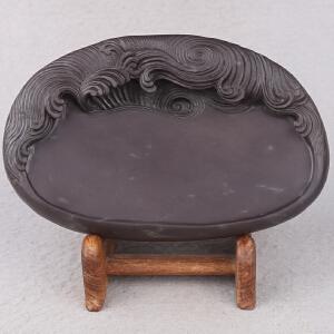 中国非物质文化遗产传承人群 钟景锐作品《海天旭日》砚 斧柯东