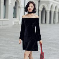 性感一字领丝绒连衣裙2017秋装新款女装修身显瘦喇叭袖短款裙子潮 黑色