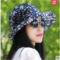女士遮阳帽凉帽时尚帽子女简约韩版太阳帽盆帽雪纺纱帽花朵沙滩帽薄款