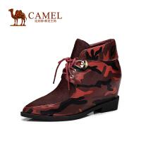 Camel骆驼女鞋 新款时尚迷彩羊皮拼接马毛尖头系带内增高女靴
