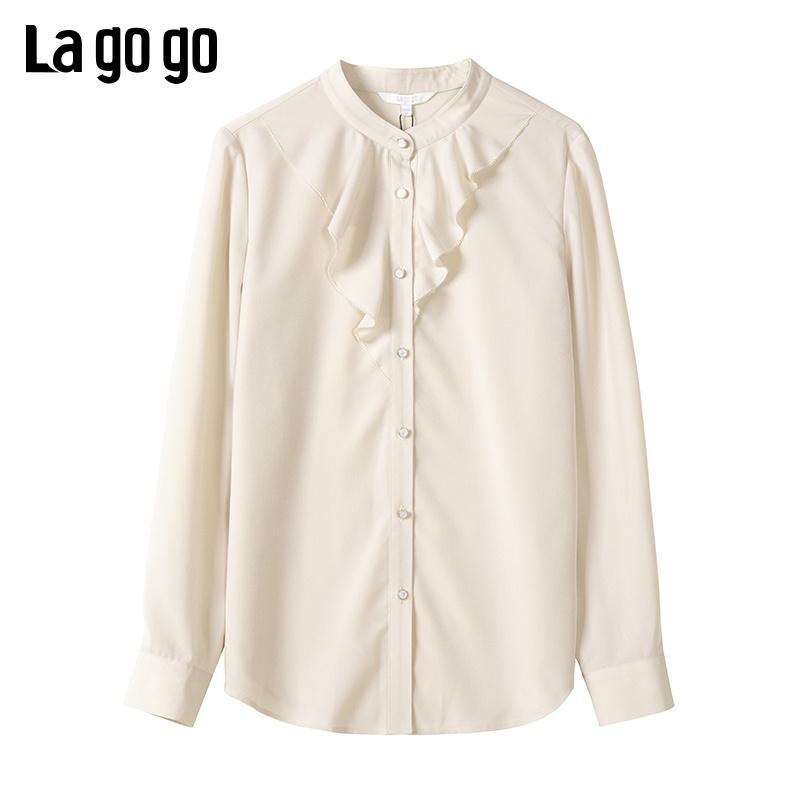 Lagogo2019冬季新款淑女长袖衬衫立领纯色雪纺纽扣上衣ICCC439A03