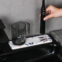 北欧风硅藻泥洗漱台垫子现代简约多功能洗手台防水杯垫皂托