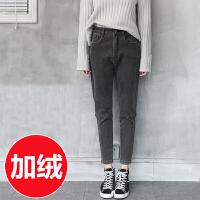 2016冬装新款灰色加厚加绒牛仔裤女高腰韩版休闲小直筒裤宽松长裤 灰色 加绒款