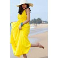波西米亚棉大码V领显瘦吊带 海边度假旅行沙滩裙连衣裙长裙 支持礼品卡