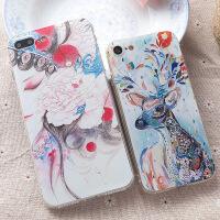 【支持礼品卡】iphone7手机壳苹果7plus套iphone8手机壳苹果8plus透明软壳七手机套浮雕半脸戏曲6s5