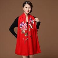 新款秋冬季围巾女士双面双层纽扣羊绒羊毛 苏绣披肩两用