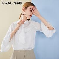 ERAL/艾莱依喇叭袖衬衣女2018新款中袖韩版立领修身荷叶边白衬衫667C013014