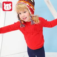 小猪班纳童装女宝宝圆领毛衣女小童冬装毛衫线衣儿童套头针织衫