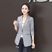 2018春装新款女装韩版修身气质格子小西装百搭时尚短款春秋薄外套