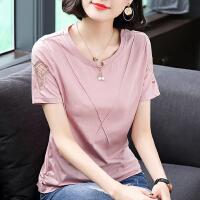 纯棉t恤女短袖夏装2021新款女装韩版刺绣半袖体恤大码宽松上衣潮