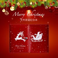 卡杰圣诞本子创意A6活页本彩页手帐日记本圣诞记事本子礼盒装定制