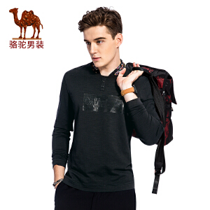 骆驼男装 秋季新款套头圆领修身男士卫衣 纯色男上衣
