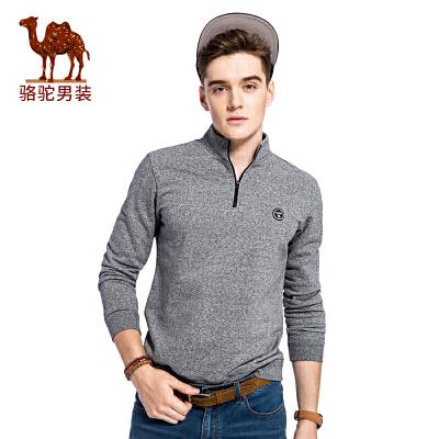 骆驼男装 秋季新款套头直筒立领时尚休闲男青年长袖卫衣