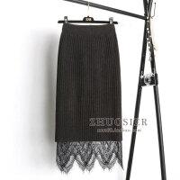 两面穿针织蕾丝半身裙一步裙女中长款秋冬季毛线裙子包臀长裙3232