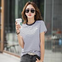 千喜步步高2021夏装新款条纹舒适棉修身显瘦圆领短袖T恤女