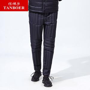 坦博尔新款羽绒棉裤男士爸爸款大码保暖时尚内穿羽绒长裤TA17011