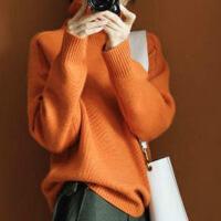 ▲新半身裙秋冬新款羊绒衫橘色高领加厚毛衣网红慵懒风针织衫宽松显瘦 橘色