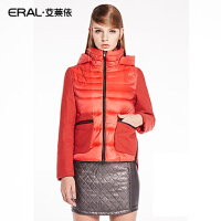 ERAL/艾莱依短款羽绒服女修身毛呢 拼接袖外套ERAL2019C