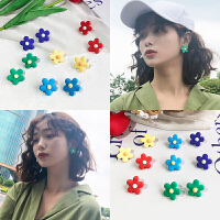 粉红娘娘(PINK EMPRESS)韩国ins彩色花朵简约小巧可爱甜美少女心耳环睡觉不用摘的耳钉女