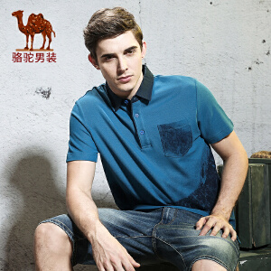 骆驼男装 夏季新款时尚青年男士衬衫领口袋纯棉3D效果短袖t恤Polo衫