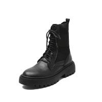 马丁靴女2019秋冬季帅气机车靴黑色短靴女英伦风百搭厚底靴子 黑色