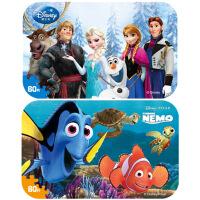【当当自营】迪士尼拼图玩具 60片铁盒木质拼图二合一(冰雪奇缘2391+海底总动员2393)