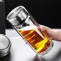 加厚过滤泡茶杯子带杯套800ml大容量玻璃杯双层便携耐热男水杯