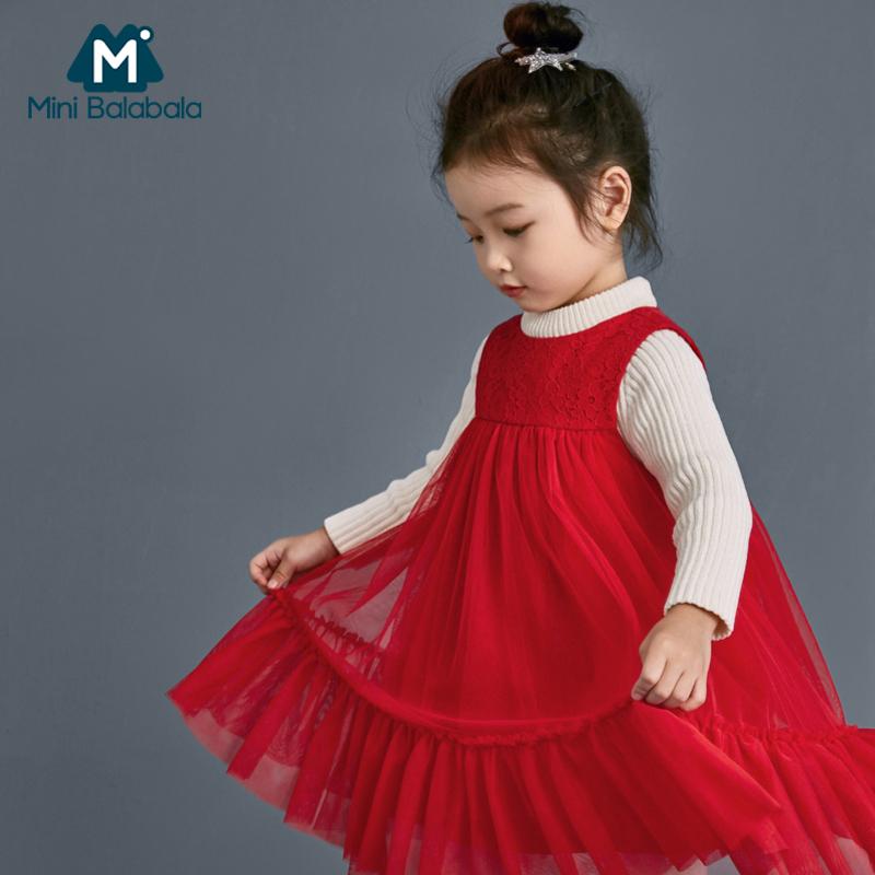 【5折价:134.5】迷你巴拉巴拉女童连衣裙2018冬新款高腰礼服裙蕾丝网纱拼接无袖