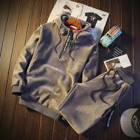 秋冬季水貂绒连帽卫衣套装男韩版潮加绒套头卫衣男一套两件套外套