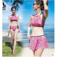 比基尼三件套裙裤沙滩bikini泳衣式女大小胸聚拢性感显小平角 可礼品卡支付
