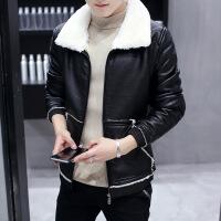 冬季加绒皮衣男士翻领韩版修身机车服青年大码男装加厚毛领皮夹克SN-877