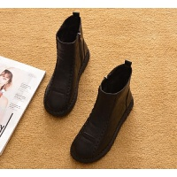 2019春秋平跟短靴单靴平底马丁靴短筒雪地靴棉鞋及踝靴女靴子 35 加棉