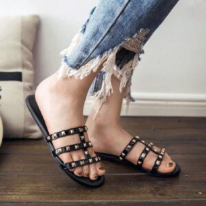 O'SHELL欧希尔新品057-1787欧美平底鞋女士凉拖鞋