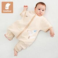 威尔贝鲁 纯棉婴儿睡袋春秋薄款彩棉儿童短袖分腿睡袋宝宝防踢被