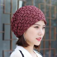 秋冬线花蕾丝网帽包头头巾帽孕妇月子帽加绒潮时尚保暖帽子