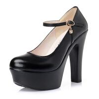 防水台超高跟鞋女模特训练走秀鞋粗跟一字扣旗袍圆头演出单鞋女秋