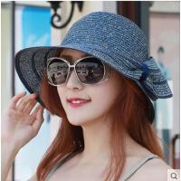 帽子女户外韩版遮阳草帽女士凉帽太阳帽沙滩帽蝴蝶结圆顶帽子新款可折叠