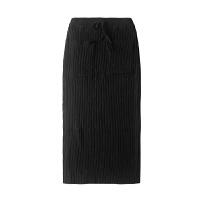 加厚春季保暖羊毛半身长裙开叉修身包臀裙过膝毛线裙一步冬裙子 -口袋款(不开叉) 均码 加厚羊毛长裙80厘米
